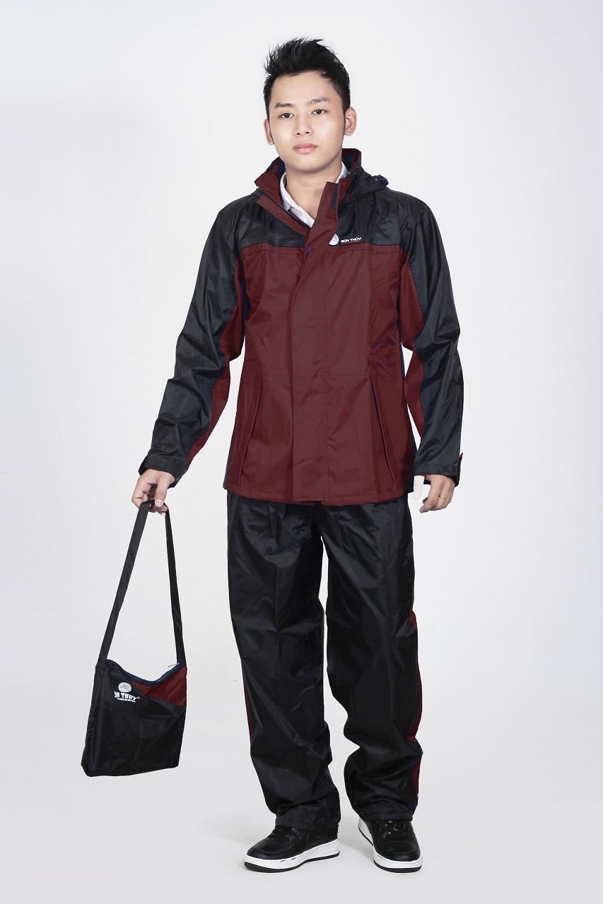 Áo mưa bộ Sơn Thủy K21 màu Đỏ mận vải tráng nhựa PVC cao cấp