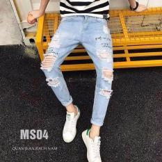 Quần Jean Nam Rách , Vải jean dày co giãn tốt – B54