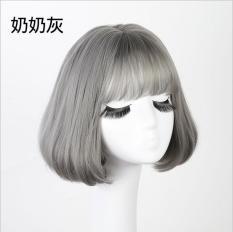 Tóc giả nữ Hàn Quốc cao cấp + tặng kèm Lưới trùm tóc – TG9170 ( MÀU RÊU KHÓI NHƯ HÌNH )