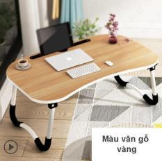Bàn Laptop, bàn học mặt gỗ, chân kim loại chống trơn trượt, có chỗ để điện thoại đa năng tiện lợi