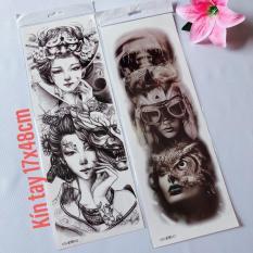 Combo 2 tấm hình xăm dán tattoo kín tay đẹp 17x48cm (Mua 1 tặng 1 mini tattoo)