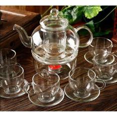 Bộ ấm trà 600ml, đế nến tròn và 6 chén có quai với đĩa lót