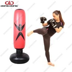 Bao tập đấm đá Boxing PVC 1.6m BƠM HƠI, trụ tập võ di động gấp gọn cao cấp – DONGDONG