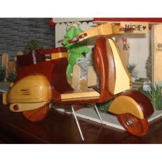 Mô hình xe Vespa ( + TẶNG 1 móc khóa gỗ di lạc ) MIỄN SHIP , Đồ chơi gỗ phủ sơn mài loại 1
