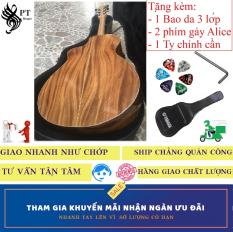 Đàn Guitar (Ghi-ta) Acoustic cao cấp Điệp già + Bao da 3 lớp + 2 Phím gảy Alice + ty chỉnh cần