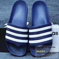 Dép Adidas_Adilette Aqua xuất Nhật màu xanh đen sọc trắng