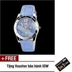 Đồng hồ nữ dây da cao cấp mặt xà cừ Skmei IDW 4561 + Tặng kèm voucher bảo hành IDW