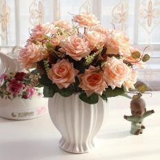 Hoa lụa cao cấp – Bình hoa hồng Rugosa