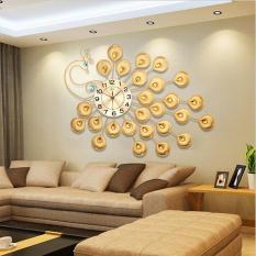 Đồng hồ treo tường mạ giả vàng đính đá cao cấp hình công 60x90cm (vàng) – (BQ239-VANG60X90CM)