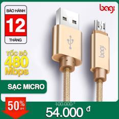 Cáp sạc Micro USB Bagi hỗ trợ sạc nhanh – MS10 – Dùng cho Samsung Galaxy Oppo LG Sony Nokia Xiaomi huawei – Hàng chính hãng Bagi bảo hành 1 năm
