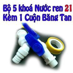 Bộ 5 khoá nước 21mm cao cấp kèm 1 cuộn băng tan
