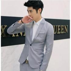 Bộ vest nam tông xám ghi form ôm body (áo vest+quần+cà vạt+nơ)