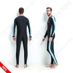 Quần áo lặn biển 1mm dài tay NAM – Xanh, chống nắng, cản tia UV – POPO Sport