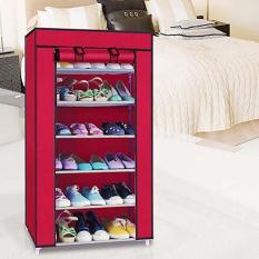 Tủ vải đựng giày dép 6 ngăn ( giao màu ngẫu nhiên )