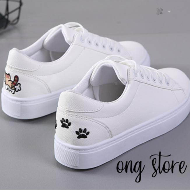 Giày thể thao nữ giày sneaker nữ thêu mèo xinh xắn (mèo đen)