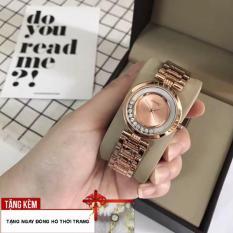 [TẶNG ĐỒNG HỒ NỮ LẮC TAY] Đồng hồ nữ chất liệu dây thép mặt đá chạy kiểu dáng thời trang siêu bền đẹp G36-SRW