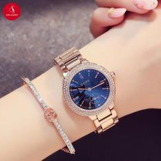 Đồng hồ nữ GUOU 8141 cao cấp 32mm (Mặt xanh) + Tặng hộp đựng đồng hồ thời trang & Pin