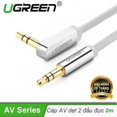 Dây Audio 3.5mm dẹt, mạ vàng 1 đầu vuông 90, TPE dài 2m UGREEN AV119 10759 – Hãng phân phối chính thức