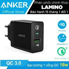 Sạc ANKER PowerPort+ 1 cổng 18w Quick Charge 3.0 có PowerIQ (Đen) – Hãng Phân Phối Chính Thức