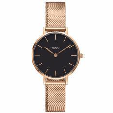 Đồng hồ nữ Guou G003 mặt mỏng cao cấp. Tặng kèm vòng tay thạch anh – Mặt trắng
