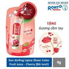 Son dưỡng chiết xuất trái cây Lipice Sheer Color Fruit Juice Cherry 4g (Anh Đào Đỏ Tươi) + Tặng gương cầm tay xinh xắn