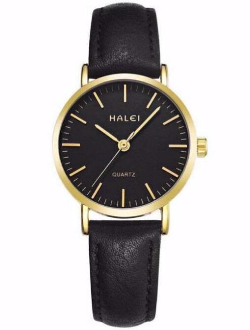 Đồng hồ nữ Halei 102 day da đen chống nước