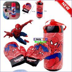 Bao Đấm Bốc Túi Đấm + 2 Găng Tay Boxing LOẠI VỪA 258C1 Người Nhện Spider Man – BBXV2