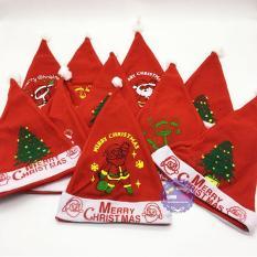 Bộ 10 Mũ (nón) ông già Noel bằng vải nỉ mỏng – ĐỒ CHƠI CHỢ LỚN