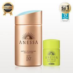 Bộ Đôi Sữa Chống Nắng Bảo Vệ Hoàn Hảo Anessa Perfect UV Sunscreen Skincare Milk 60ml + Kem Trang Điểm Chống Nắng BB Anessa 7ml