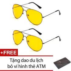 Combo 2 Kính nhìn xuyên đêm chống lóa mắt (Vàng) + Tặng dao thẻ ATM