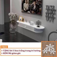 Kệ tivi treo tường 2 cánh TẶNG 3 gỗ trang trí tường hình hoa (màu trắng) HOME DECOR