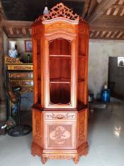 tủ góc gỗ gụ cao 217cmx70cm
