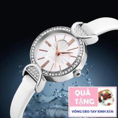 Đồng hồ Nữ dây da SKMEI 9146 đính đá thời trang (Tặng vòng đeo tay)