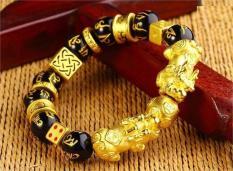 Vòng Tay Tỳ Hưu Vàng Phong Thủy 24k kết hợp thanh tài lộc đá thập tự nhiên ML0099