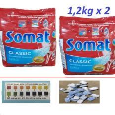 Combo 2 Gói Bột Rửa chén Bát ly Somat 1,2kg Đức tđ alio, ( tặng 6 viên rửa finish nhật hoặc que thử độ cứng của nước )