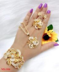 Bộ trang sức hoa xoắn mạ vàng cao cấp