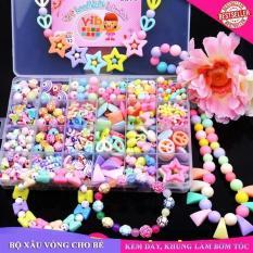Hộp 24 ngăn hạt cườm xâu vòng – đồ chơi thủ công sáng tạo cho bé gái (nhiều màu)