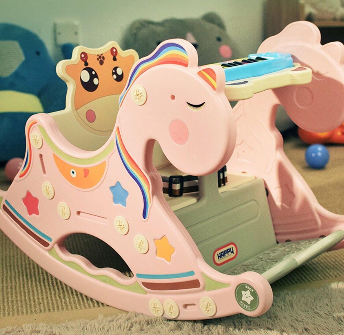 Ghế bập bênh ăn dặm hình ngựa PONY, 3 chức năng cho trẻ