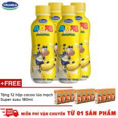 Thùng 24 chai Sữa uống dinh dưỡng ADM Gold chuối chai 150ml + tặng 6 hộp Thức uống cacao lúa mạch Super Susu 180ml
