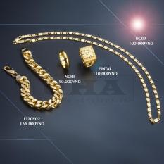 Bộ 04 COMBO ( Dây chuyền Dẹt – Nhẫn chữ phúc – Nhẫn chơn 5 chỉ – Lắc tay ) Mạ vàng 24k công nghệ ITALY
