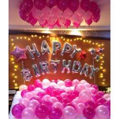 SÉT bóng trang trí sinh nhật gồm bộ chữ HPBD + 50 nhũ thái + 2 trái tim/ngôi sao TẶNG 3 phụ kiện