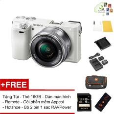 Sony A6000 24.3MP với lens Kit 16-50 (Trắng) – Tặng thẻ nhớ + Túi + Dán màn hình + Remote + Gói cài app + Nắp hotshoe + Bộ 2 Pin 1 Sạc đôi RAVPower FW-50 – Hàng phân phối chính hãng