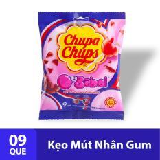 Kẹo mút Chupa Chups Hương Trái Cây Hỗn Hợp nhân sing gum thổi (gói 9 viên)