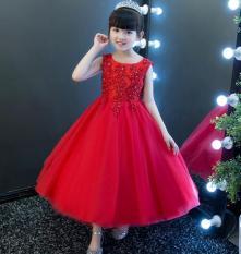 Đầm đỏ kết hoa dài
