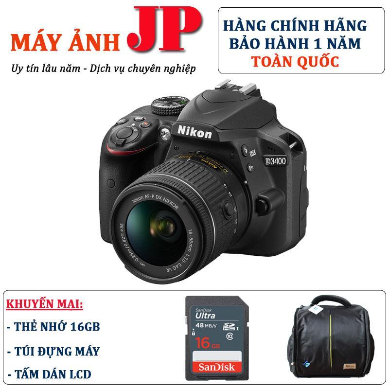 Nikon D3400 kit 18-55mm VR II (Hàng chính hãng) – Tặng thẻ 16G + túi máy + tấm dán LCD