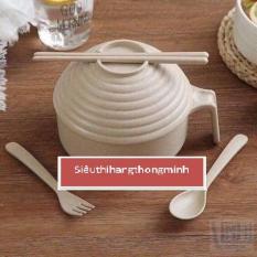 Bộ bát lúa mạch to có tay cầm ( tặng kèm đũa, thìa, dĩa )