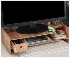 Bàn kê màn hình máy tính Monitor, Laptop đa năng bằng gỗ ghép có hộc tủ nhỏ tiện dụng cao cấp -MS 5088c(Nâu)