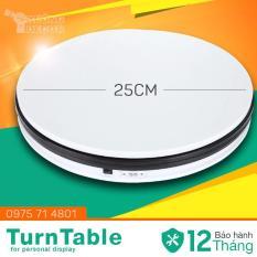 Bàn xoay trưng bày chụp ảnh TurnTable 25cm 220v (Trắng-đen) chịu tải 10kg