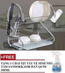 Combo Giá để chén bát 2 tầng inox cao cấp Homestar + Tặng 1 Chai xịt tẩy vệ sinh nhà tắm Sandokkaebi Hàn Quốc 300ml GT837
