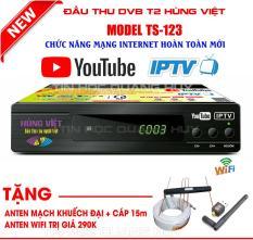 Đầu thu Hùng Việt TS 123 – Phiên bản Internet 2018 tặng anten wifi + anten khuếch đại +cáp 15m